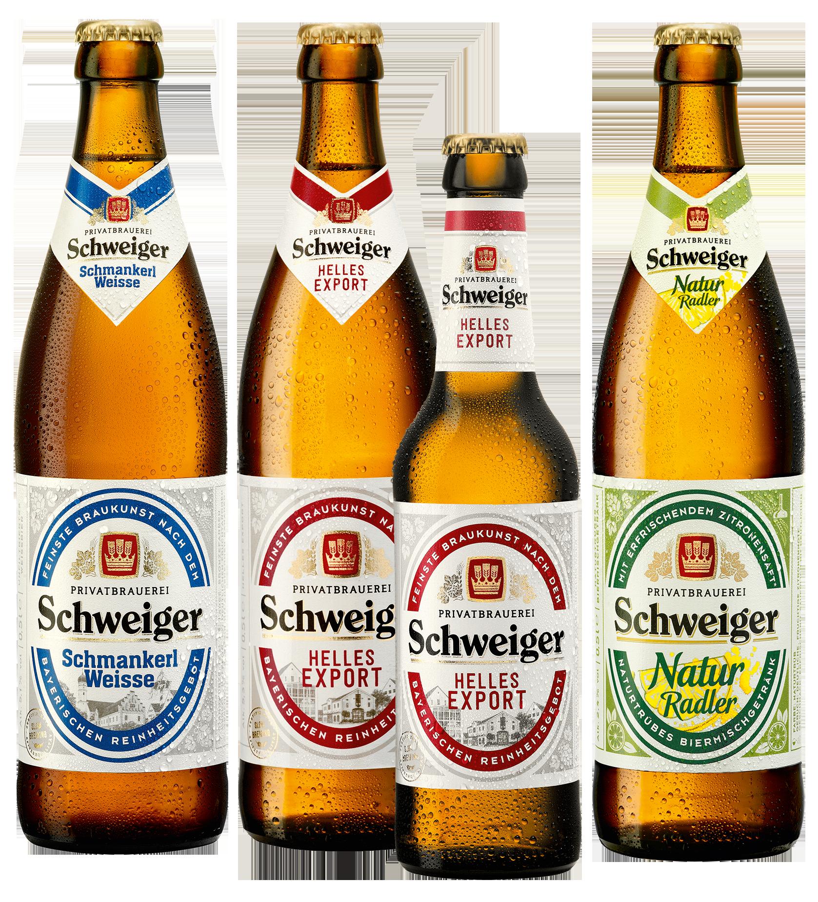 Eine Auswahl von Bieren der Privatbrauerei Schweiger mit neuen Etiketten. Helles Export, Schmankerl Weisse und Natur Radler.